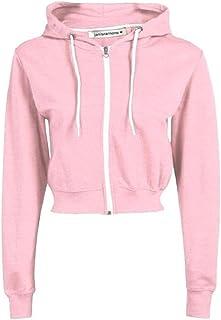 Janisramone Womens Ladies New Hooded Zip Up Crop Hoodie Long Sleeve Plain Fleece Jacket Sweatshirt Jumper Top