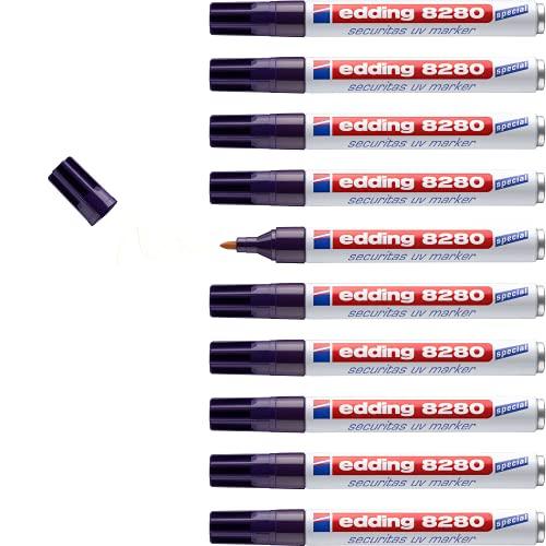 Edding 8280UV - Caja de 10 marcadores de seguridad ultravioleta, con punta redonda, grosor de trazo de 1,5-3 mm