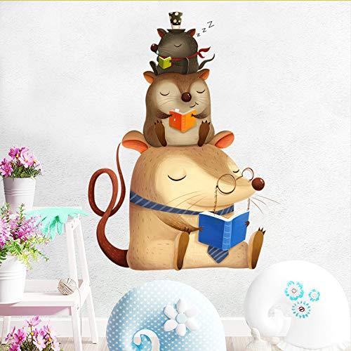 Kyzaa Belle Drie muizen, lezen, boek, muizen, muren, zelfklevend, afneembaar, vinyl, muursticker, voor babykamer, decoratie