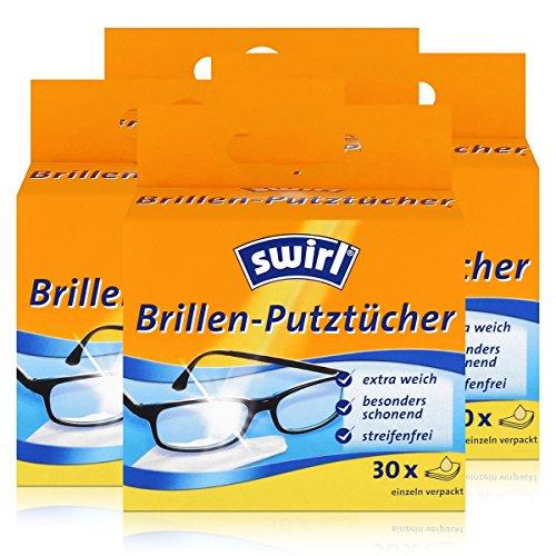 Swirl brillenpoetsdoeken 30 afzonderlijk verpakte doeken in dispenserbox - anti-condens-effect - extra zacht en voorzichtig - vetoplossend - streepvrij (4-delige verpakking)