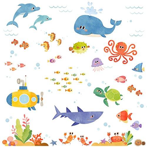 DECOWALL DW-1611S Aventura en el Mar Vinilo Pegatinas Decorativas Adhesiva Pared Dormitorio Salón Guardería Habitación Infantiles Niños Bebés