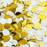 LUSSO LIA - Confeti de 2,5 cm de papel y papel de aluminio, mezcla perfecta para bodas, fiestas de cumpleaños, decoración de mesa (crema claro, blanco, dorado)