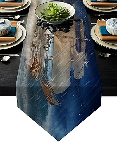 QAZQAZ Barco de Vela de Olas, Camino de Mesa para Banquete de Boda, decoración de Mesa de Centro, Mantel de jardín para el hogar, 33x178cm