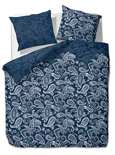 etérea Microfaser Bettwäsche 135x200 cm + 80x80 cm, Paisley Bettwäsche, Bettbezug aus weicher Microfaser - Bettwäsche Paisley Muster mit Farbverlauf in Blau