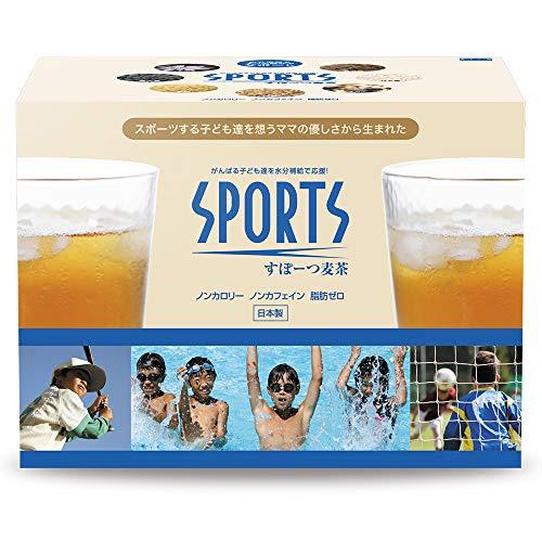 スポーツ麦茶 1箱 (たっぷり30リットル) ノンカフェイン、オーガニック原料の高級ブレンド健康茶、アミノ酸18種 (天然ミネラル塩配合) 理想的な水分補給