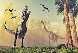 Laeacco 7x5ft Jurassic Period Dinosaur Backdrop Park Forest Mist Fog Trees Scenery Backdrops for Photography Children Adults Artistic Decoration Party Portraits Background Studio Props