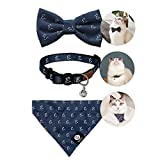ENVY COLLECTION Cat Collar Set Comes with a Collar, a Bow Tie and a Bandana. Designed with Breakaway and Safety Buckle/Adjustable Size/ Fabric for Cats Kitties Puppies Small Rabbits. (Blue Grey)
