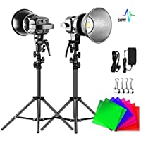 2-Pack GVM Great Video Maker 80W 5600K CRI 97+ LED Video Light with Tripod and 4 Color Filters for YouTube Studio