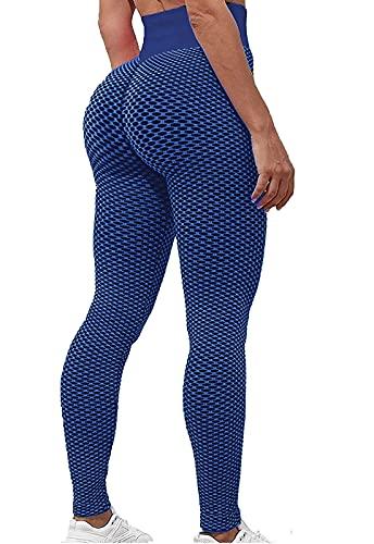 FITTOO Leggings Mallas Mujer Pantalones Deportivos Yoga Alta Cintura Elásticos y Transpirables Azul Grande