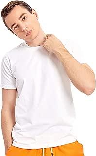 FOOXMET Men's Short Sleeve Beefy T-Shirt Orange-Flavor Comfortable Cotton White T-Shirt Crew Neck Quick Dry Tech T-Shirt …