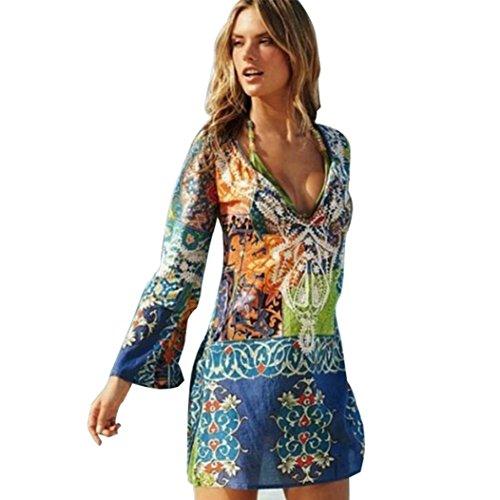 Beautyjourney Copricostume Mare Donna Lungo Estate Pizzo Vestiti Vestito Donna Estivo Lungo Abito Donna Lungo Elegante Costumi Bikini Costume Donna Chiffon Vestire Costumi da Spiaggia (L, Colorato)