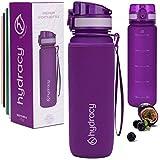 Hydracy Botella de Agua 1 Litro con Marcador de Tiempo - Sin BPA con Filtro de Infusión de Frutas - Antigoteo y sin Sudor - Ideal para el Ejercicio y los Deportes al Aire Libre - Púrpura