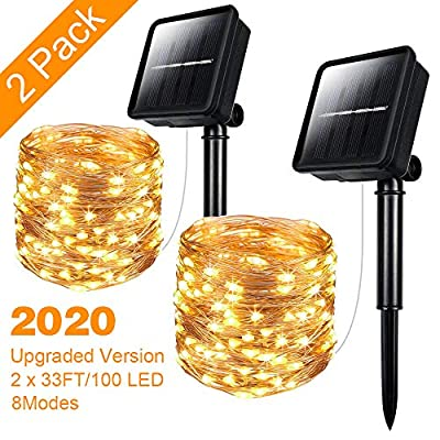 Solar String Lights, 2 Pack 33 Ft 100 Led Outdoor Waterproof Solar Powered Fairy String Copper Wire Lights 8 Flashing Lighting Modes for Garden Courtyard Wedding Party Decor with Warmth and Romance