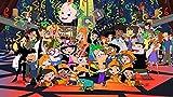 lcyab Jigsaw 1000 Piezas Panorama Póster Animado de Phineas y Ferb Adultos Descompresión Adolescentes Educativa Intelectual Toys Games Divertido Creatividad Regalo
