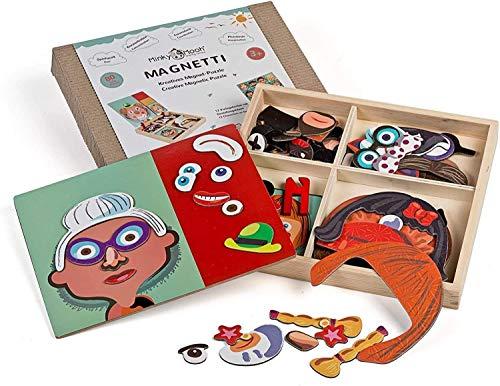 Nuevo! Puzzle magnético de Madera con Tablero de Doble Cara, Juguete Educativo de Madera Juego magnético Montessori MAGNETTI, Puzzle Infantil a Partir de 3 años