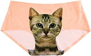 MIOIM パンティー 女性用 セクシー 無縫製 滑らかな猫プリント アンチ露出 ショーツ 3D猫パンツ レディース 下着 ナイロン ランジェリー ブリーフ