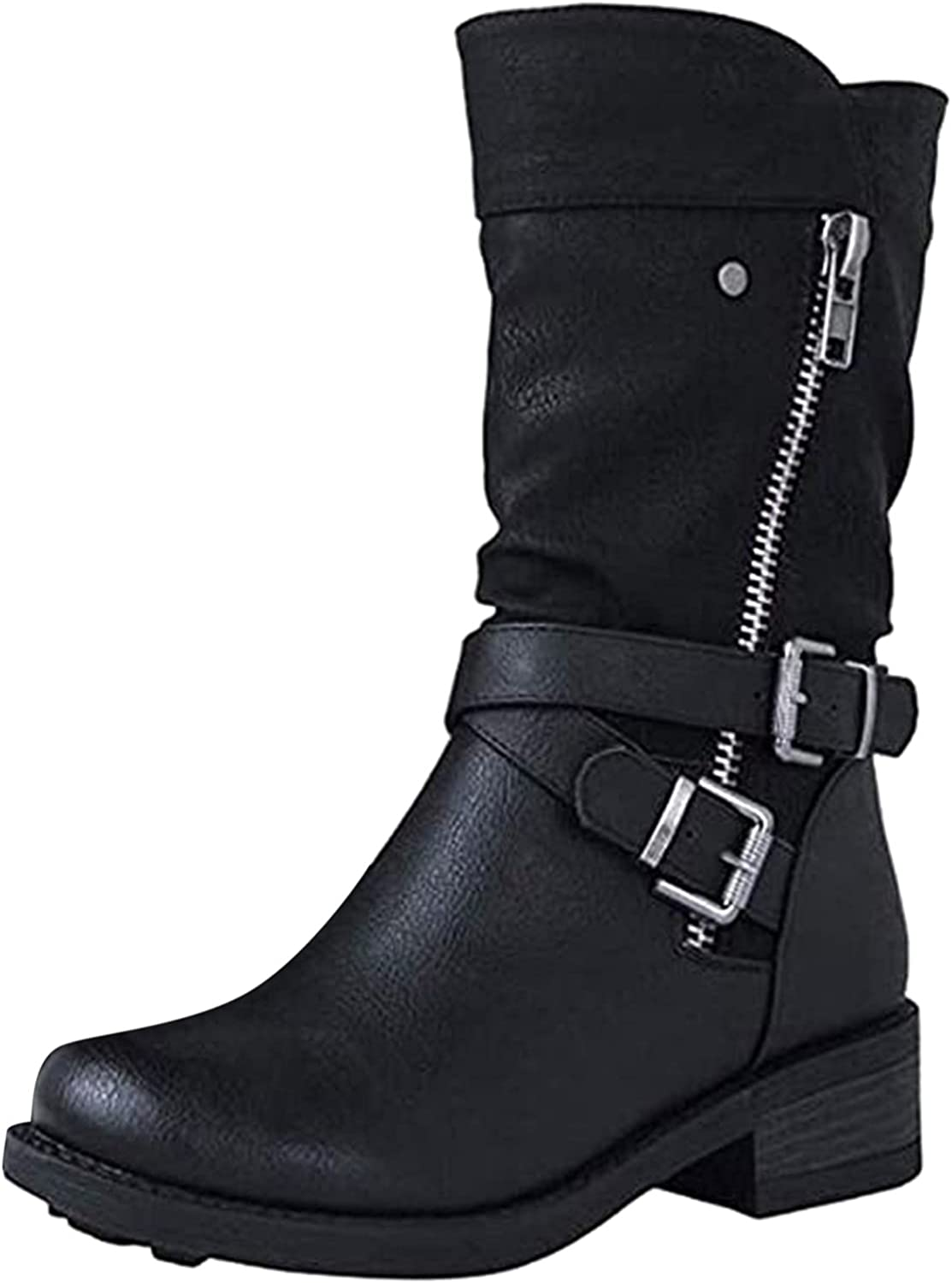 Womens Square Heel Mid-tube Booties Solid Color Retro Zipper Buckle Round Toe Shoes