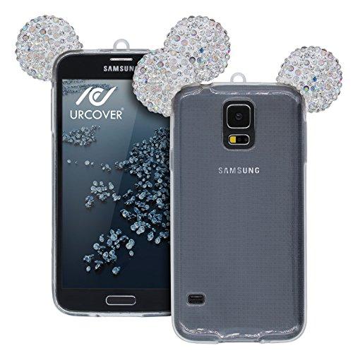 Urcover Custodia Compatibile con Samsung Galaxy S5 Orecchie da Topolino Cover Protettiva in Silicone Trasparente Morbida Laccio, Back Case con Strass Brillantini Femminile Donna - Argento