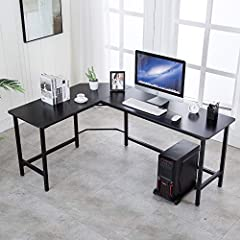 [L-SHAPED CORNER DESIGN] - Wrap-around style provides lager of surface space for home and office work-related or gaming activities [EASY TO ASSEMBLY] - This L desk is designed by an M-style buckle, all parts, the tools and instructions needed are pro...