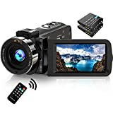 Video Camera Camcorder FHD 1080P 30FPS 36MP IR Night Vision YouTube Vlogging Camera Recorder 3.0'' 270 Degree Rotation IPS Screen 16X Digital Zoom Camcorder with Remote and 2 Batteries