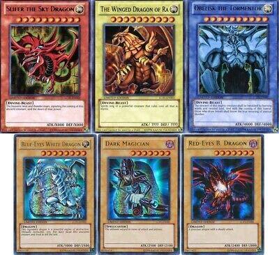 Yu-Gi-Oh!! All 3 God Cards!! Blue Eyes White Dragon, Red Eyes B. Dragon, Dark Magician! 500 Card Lot!! with Rare Yugioh Cards Guaranteed! Slifer, Obelisk,Ra