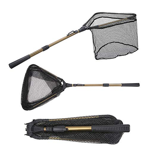 YVLEEN Folding Fishing Net - Foldable Fish Landing Net Robust Aluminum Telescopic Pole Handle and Safe Fish Catching or Releasing for Durable and Nylon Mesh 16inch Hoop Size