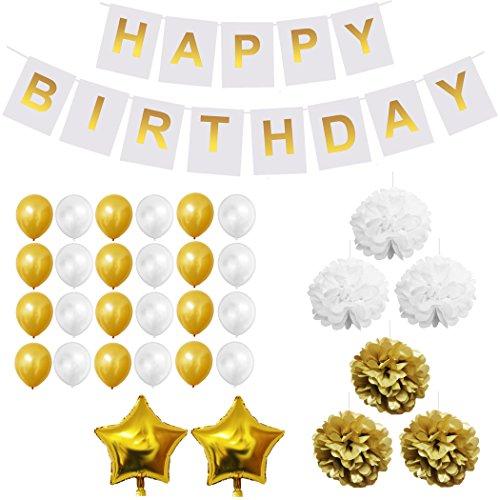Decoración fiesta cumpleaños Oro e Bianco - Happy Birthday Compleanno Addobbi Accessori Pompons, Palloncini in Lattice e Foil e Striscioni per Compleanno e Feste