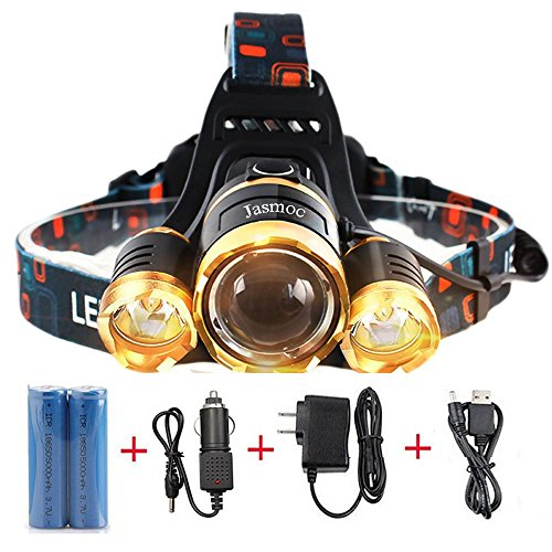 6000 Lumen 3 Cree Xml T6 Improved Led Headlamp, 4 Modes Zoomable Headlight Super Bright Waterproof Hard Hat Flashlight for Camping Fishing Hiking Running Outdoor Sports(Batteries and Charger Included)