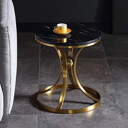 XDLYM Mesa Auxiliar de café con Tapa de mármol y Marco de Acero Inoxidable Mesa de té Redonda para Sala de Estar, Dormitorio, hogar y Oficina,M2