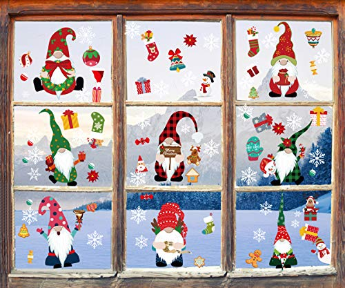 JXCH Christmas Gnome Window Clings Christmas Window Decals Stickers 8 Sheets Winter Xmas Scandinavian Tomte Elves Double Side Window Clings Holiday Christmas Window Decorations for Office Home