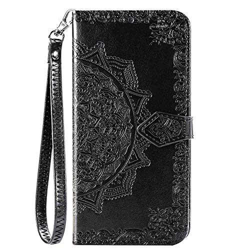 iEugen Compatible with iPhone 12 & iPhone 12 Pro Case,3 Card Slots,1 Note Pockets,Kickstand,Mandala Flower Embossed,Double Magnetic Clasp,Luxury PU Leather Wallet Case Flip Folio Cover,Black