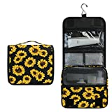 Yellow Sunflower Women Travel Cosmetic Bag Hanging Toiletry Wash bag Watercolor Floral Vintage Portable Makeup Organizer Brush Case Storage Bag with Hook for Bathroom Toilet