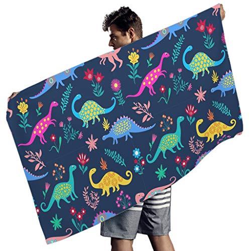 Greenieey Toalla de playa grande dinosaurio toalla de baño toalla de piscina para niños y adultos blanco 150x75 cm