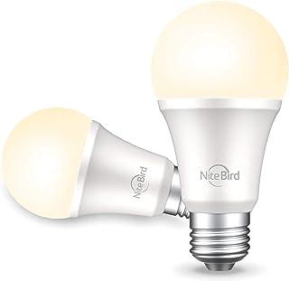 لامپ هوشمند سازگار با Alexa Google Home ، NiteBird A19 E26 WiFi Dimmable Warm White 2700K چراغ های لامپ LED ، معادل 75 وات ، بدون توپی لازم ، 2 بسته