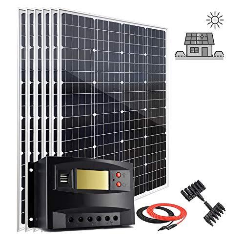 Kit de inicio de panel solar de 600 W, 12 V, con controlador de carga PWM LCD de 50 A, 6 unidades de 100 W módulo solar fotovoltaico monocristalino grado A + cables de extensión solar + conectores