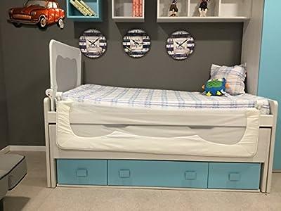 Barrera especial para cama nido y cama compacta. También es posible instalar en camas normales y canapé. Para asegurar el conjunto al somier de la cama, la barrera viene provista de unas correas de seguridad. Con 90 cm de longitud. 66 cm de altura, l...