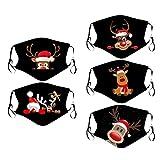 Lomelomme 5 Stück Mundschutz Waschbar mit Weihnachten Motiv Maske Bandana Lustige Multifunktionstuch Herren Damen Atmungsaktive Baumwolle Mund und Nasenschutz Staubdicht Motorrad Halstuch (K-7)