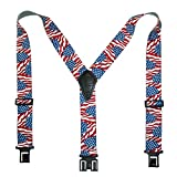 Perry Suspenders Mens Elastic Hook End 2' Novelty Suspenders (US Flag, One Size)