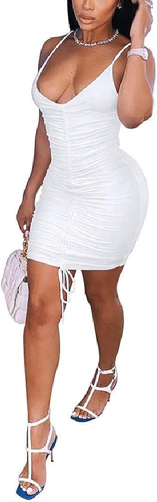QANSI Women's Spaghetti Strap Dress Ruched Bodycon Sexy Dresses Party Night Club Dresses(S-XXL)
