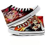 JPTYJ Demon Slayer: Kimetsu no Yaiba Kamado Tanjirou/Nezuko High Top Graffiti Unisex High Top Zapatos Anime Casual Shoes Estudiantes Canvas Shoes Sneakers C-37