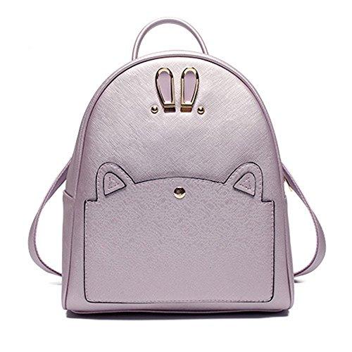 Trendy mochila de cuero PU bolsos de Viajes Escuela Bolsas Mochila de ojo de conejo lindo para las niñas Lavanda Bolsos Mochila