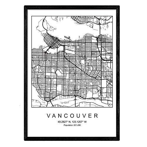 Nacnic Lámina Mapa de la Ciudad Vancouver Estilo nordico en Blanco y Negro. Poster tamaño A3 Sin Marco Impreso Papel 250 gr. Cuadros, láminas y Posters para Salon y Dormitorio