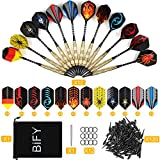 BIFY Dartpfeile mit kunststoffspitze,12 Stück Darts [18g/Stück](Internationaler Standard) 60 Flights 120 Spitzen Brass Darts Aluminum Shafts + 1 Steel Pin und Stoffbeutel