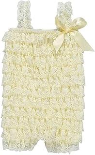 ZEVONDA Baby Girl Sleeveless Bodysuits - Summer Lace Romper Jumpsuit for Baby Toddler, Beige/12-24 Months