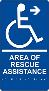 Area of Rescue Assistance Right Sign, ADA-Compliant Braille and Raised Letters, 11x6 in. Blue Acrylic with Adhesive Mounting Strips by ComplianceSigns