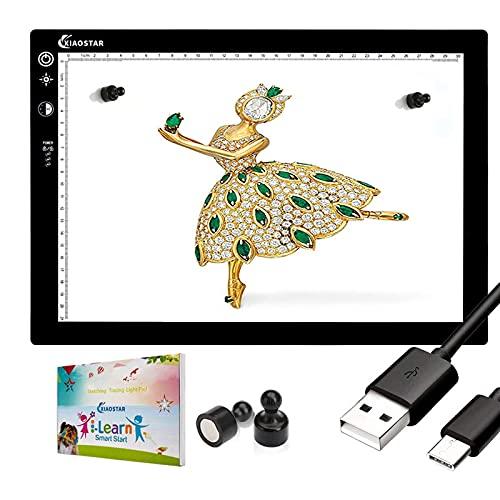 Mesa de Luz Dibujo A4 LED,Tablero de Pintura de Diamante Ultrafino,Mesa de Luz Para Calcar,Brillo Ajustablecon con Ajuste de Tiempo y Pantalla de Bloqueo,Cable USB,Para Artistas,Animación,Dibujo