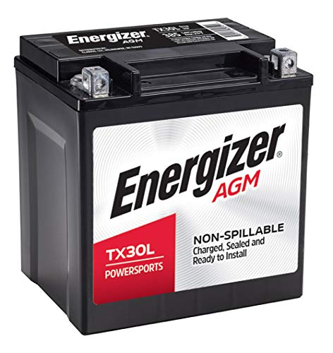 Energizer TX30L AGM Motorcycle and ATV 12V Battery, 385 Cold Cranking Amps and 30 Ahr, Replaces: TX30L and others