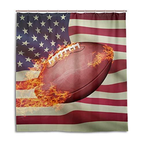 CPYang Duschvorhänge American Football USA Flagge Wasserdicht Schimmelresistent Badvorhang Badezimmer Home Decor 168 x 182 cm mit 12 Haken
