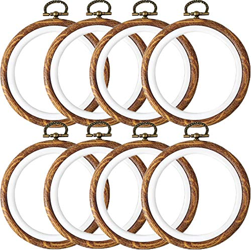 Beatea Embroidery Hoop 8 Pcs 3 Inch Embroidery Hoops Rubber Cross Stitch Hoops Ring Set,Round Imitated Wood Display Frame for Art Craft Sewing,Hanging and Christmas Ornaments