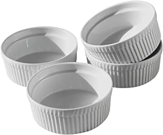 Cinf Porcelain Ramekin White 10 oz. Pudding Bowls Dishes Cup for Baking- Set of 4,Soufflé Cups Dishes, Creme Brulee, Custa...